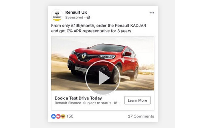 facebook examples renault ads
